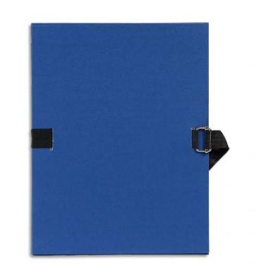 EXACOMPTA Chemise extensible Varia 2230, recouverte de papier grainé bleu foncé