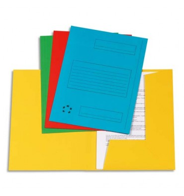 5 ETOILES Paquet de 50 Chemises à 2 rabats pour dossiers-suspendus, coloris assortis