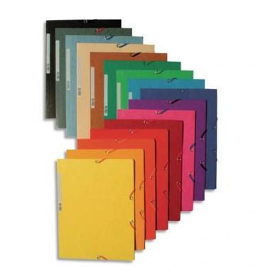 EXACOMPTA Chemises 3 rabats et élastique, en carte lustrée 5/10e, 400g. Format 24 x 32 cm. Coloris assortis
