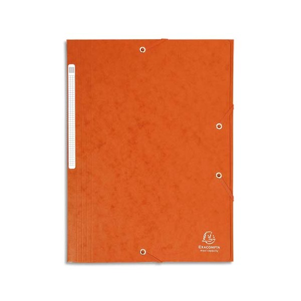EXACOMPTA Chemises 3 rabats en carte lustrée avec élastique fixé devant, coloris orange