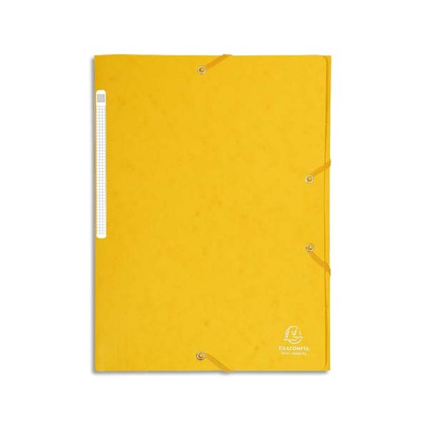 EXACOMPTA Chemises 3 rabats en carte lustrée avec élastique fixé devant, coloris jaune