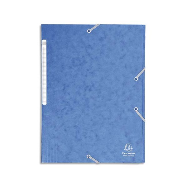 EXACOMPTA Chemises 3 rabats en carte lustrée avec élastique fixé devant, coloris bleu