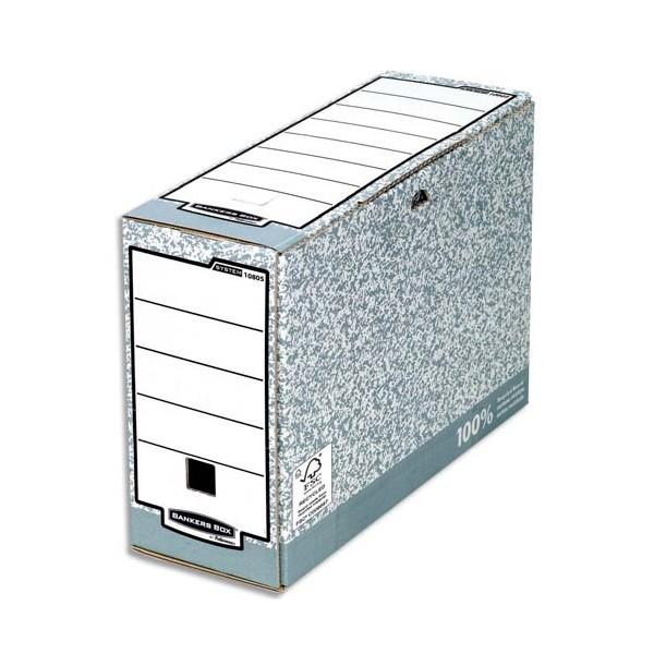 BANKERS BOX Boîtes archives dos 10 cm, carton recyclé, gris/blanc (photo)