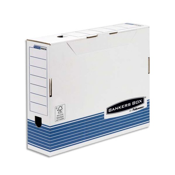 bankers box bo tes archives system a3 dos 10 cm carton recycl blanc bleu. Black Bedroom Furniture Sets. Home Design Ideas