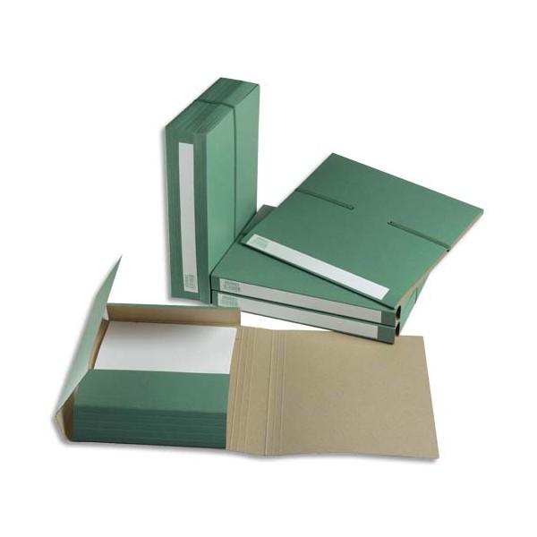 EXTENDOS Dossier pour archivage à 3 rabats, dos de 7 cm, en carton vert, fermeture par élastique