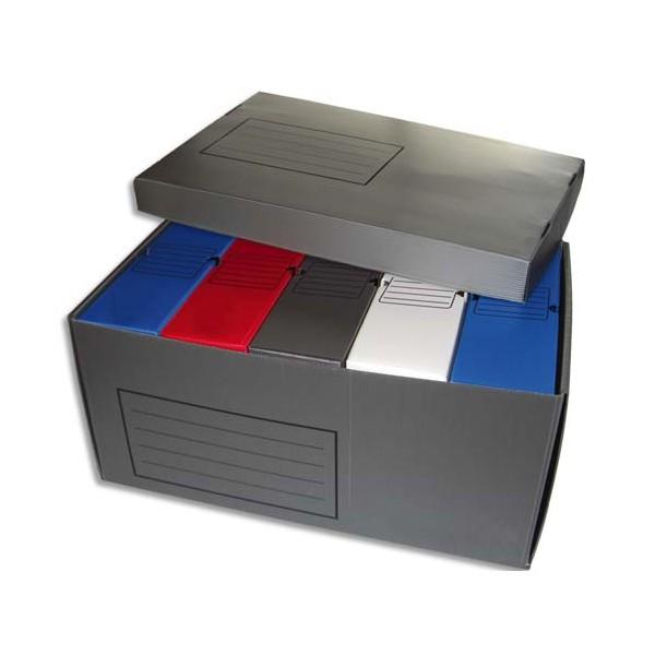 NEUTRE Lot de 5 boîtes archives dos 10 cm polypropylène assortis + 1 conteneur polypropylène gris