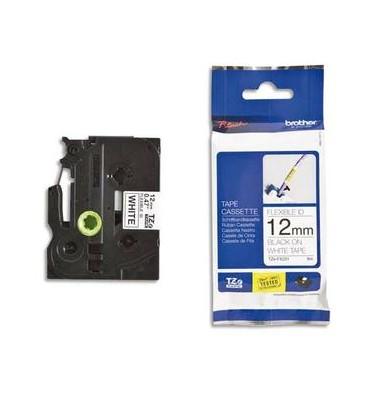 BROTHER Ruban pour PTouch flexible laminé Noir / Blanc 12 mm x 8 mm - TZeFX231