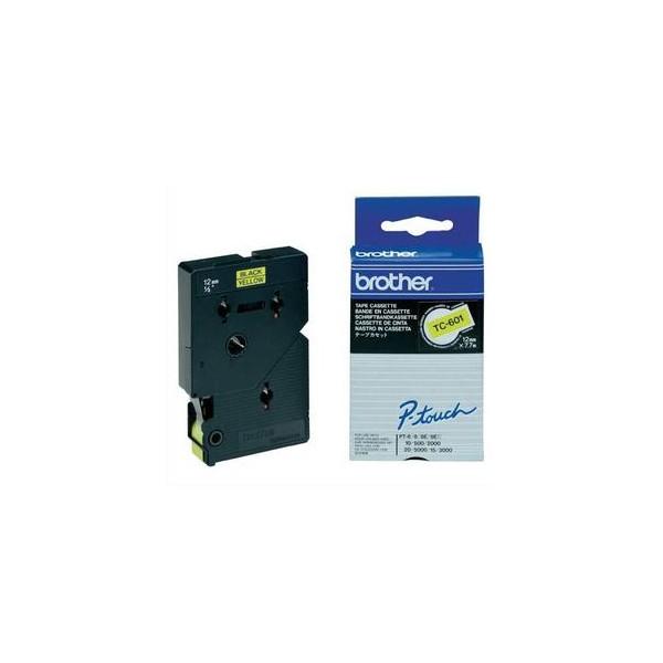 BROTHER Cassette Ruban TC Noir / Jaune 12 mm x 7,7 m - TC601