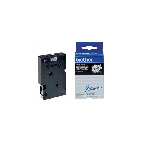 BROTHER Cassette Ruban TC Noir / Transparent 12 mm x 7,7 m - TC101