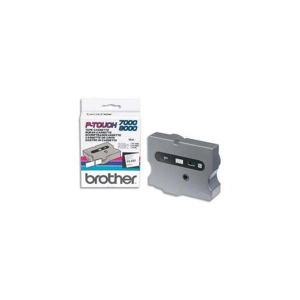 BROTHER Cassette Ruban TX Noir / Blanc 24 mm x 15 m - TX251