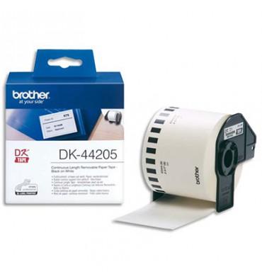 BROTHER Ruban continu Papier adhésif repositionnable Noir / Blanc 62 mm x 15 m - DK44205