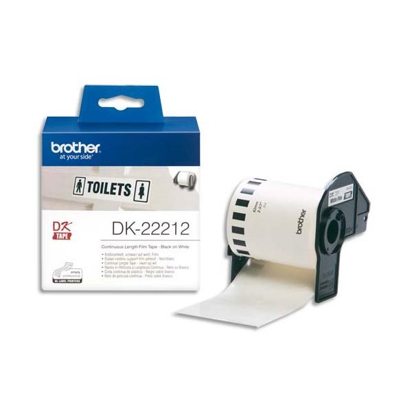 BROTHER Ruban continu Papier adhésif Noir / Blanc 62 mm x 15 m - DK22212