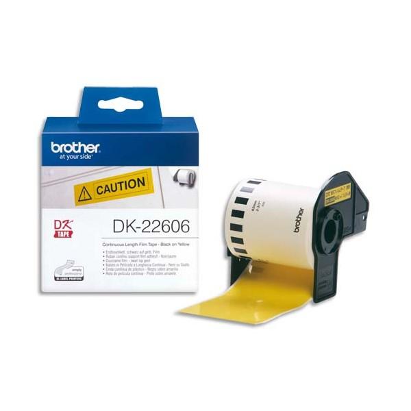 BROTHER Ruban continu Papier adhésif Noir / Blanc 62 mm x 15 m - DK22606