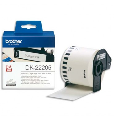 BROTHER Ruban continu Papier adhésif Noir / Blanc 62 mm x 30 m - DK22205