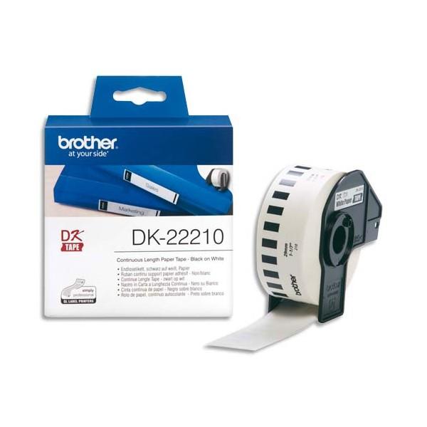 BROTHER Ruban continu Papier adhésif Noir / Blanc 29 mm x 16 m - DK22210