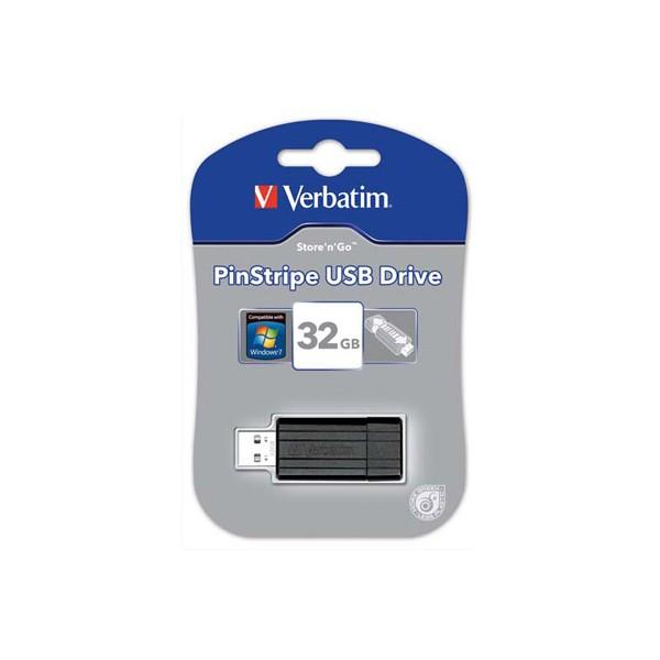 VERBATIM Clé USB 2.0 Store 'n' Go PinStripe 32Go Noir 49064 + redevance