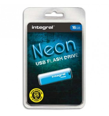INTEGRAL Clé USB 2.0 NEON 16Go bleue INFD16GBNEONB + redevance