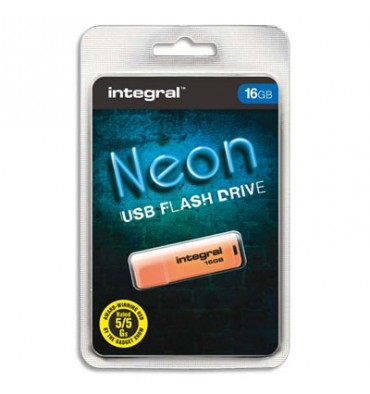 INTEGRAL Clé USB 2.0 NEON 16Go Orange INFD16GBNEONOR + redevance