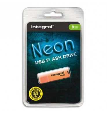 INTEGRAL Clé USB 2.0 NEON 8Go Orange INFD8GBNEONOR + redevance