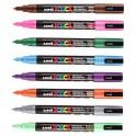 UNIBALL Pochette 8 marqueurs peinture à l'eau, couleurs assorties, pointe fine UNI POSCA PC3M