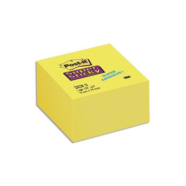 POST-IT Bloc cube 350 feuilles SUPER STICKY 7,6 x 7,6 cm jaune jonquille