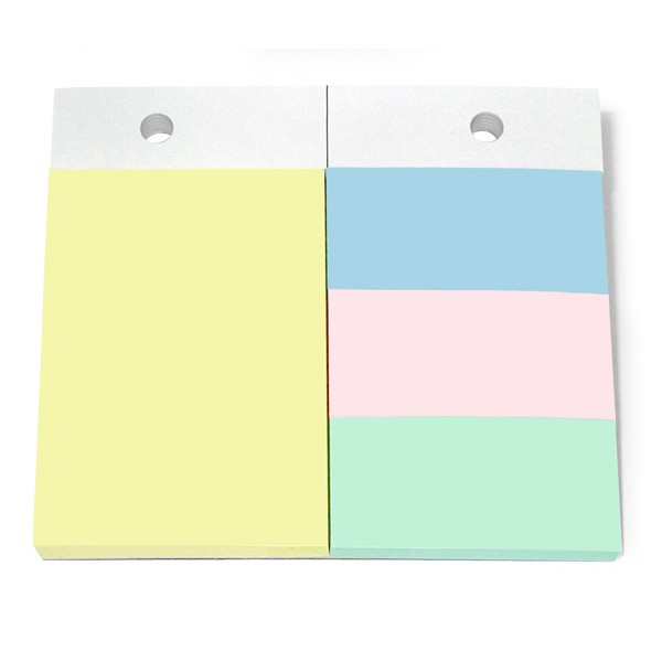JPC Recharge 4 blocs pour support format A6. 1 bloc 102 x 75 mm + 3 blocs 34 x 75 mm. Couleurs pastels