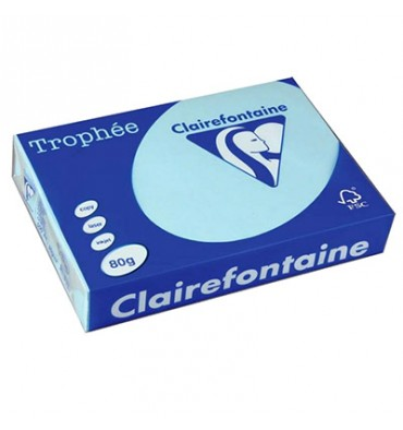 CLAIREFONTAINE Ramette de 500 feuilles papier couleur TROPHEE 80g A3 bleu vif