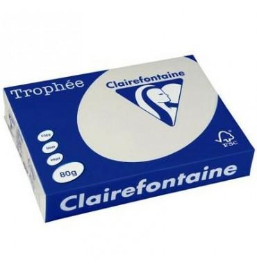 CLAIREFONTAINE Ramette de 500 feuilles papier couleur TROPHEE 80g A3 gris perle