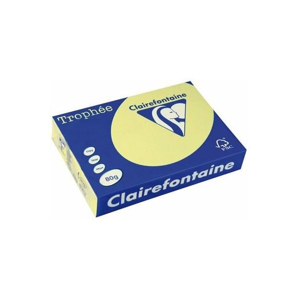 CLAIREFONTAINE Ramette de 500 feuilles papier couleur TROPHEE 80g A3 jaune jonquille