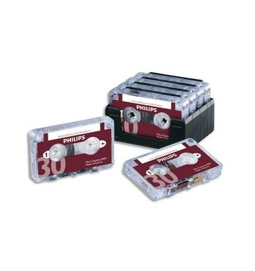 PHILIPS Lot de 10 Mini-cassettes pour machine à dicter 2x15 mm LFH0005/60