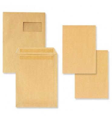 5 ETOILES Boîte de 500 pochettes kraft brun autocollant 90g format 162 x 229 mm C5