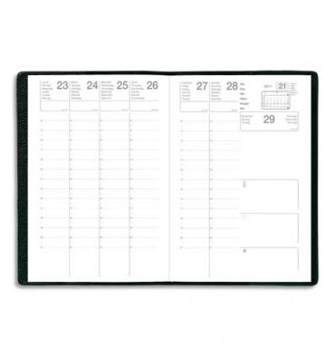 Semainier Eco août à juillet 1 semaine sur 2 pages avec notes, format 21 x 27 cm couverture PVC noire