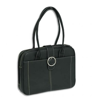 PIERRE BY ELBA Sac Ordinateur Lady 15 pouces qualité cuir - Collection White Line - 2 compartiments - noir