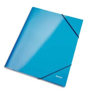 LEITZ Chemises 3 rabats et élastique en carton pelliculé WOW bleu azur