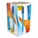 PAPERMATE Boîte de 100 Stylos bille à capuchon INKJOY, pointe moyenne, encre bleue (80+20 gratuits)