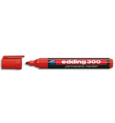 EDDING Marqueur Edding 300 permanent, corps plastique, pointe ogive - coloris rouge