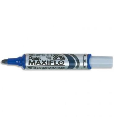 PENTEL Marqueur effaçable sec tableaux blancs pointe ogive large encre liquide base alcool bleue MAXIFLO