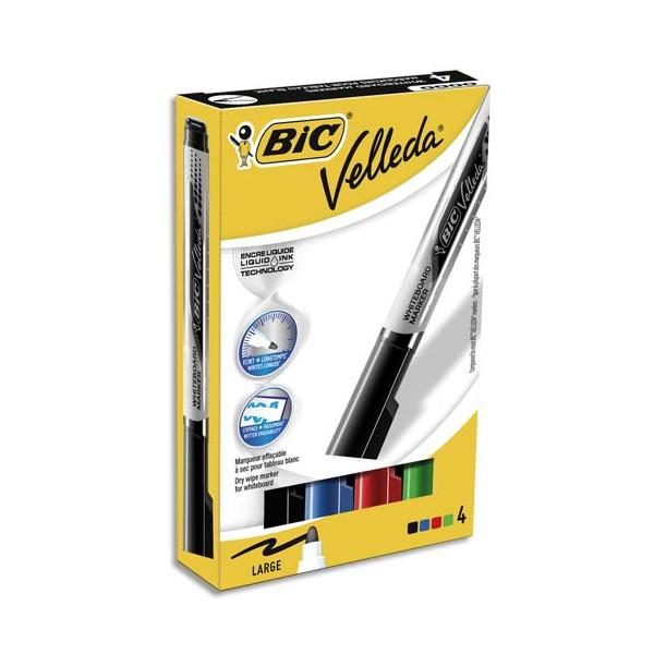 BIC Pochette de 4 marqueurs effaçable à sec VELLEDA Liquid' ink,encre liquide pointe ogive large assortis