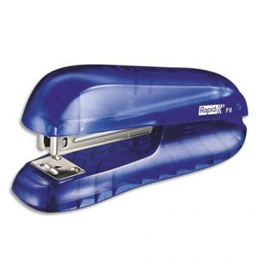 RAPID Agrafeuse de bureau F6 bleu à demi bande, capacité 20 feuilles, agrafes 24/6 et 26/6