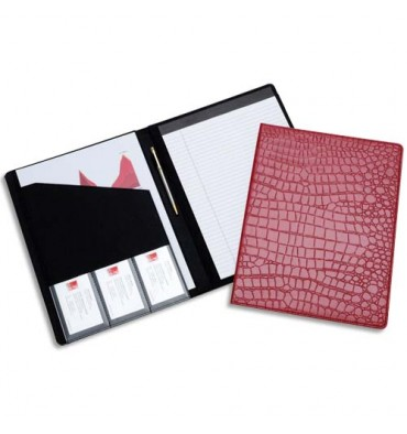 REXEL Porte-documents format A4. Couverture motif Croco rouge + carnet de notes A4 ligné