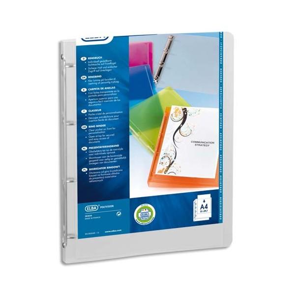ELBA Classeur personnalisable Transparence Perso en polypropylène 8/10e dos 3 cm coloris