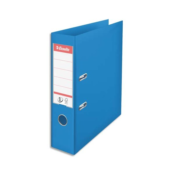 ESSELTE Classeur à levier N°1 POWER tout polypropylène, dos 75 mm, coloris bleu
