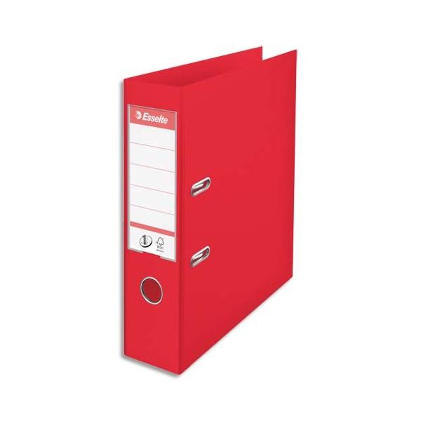 ESSELTE Classeur à levier N°1 POWER tout polypropylène, dos 75 mm, coloris rouge