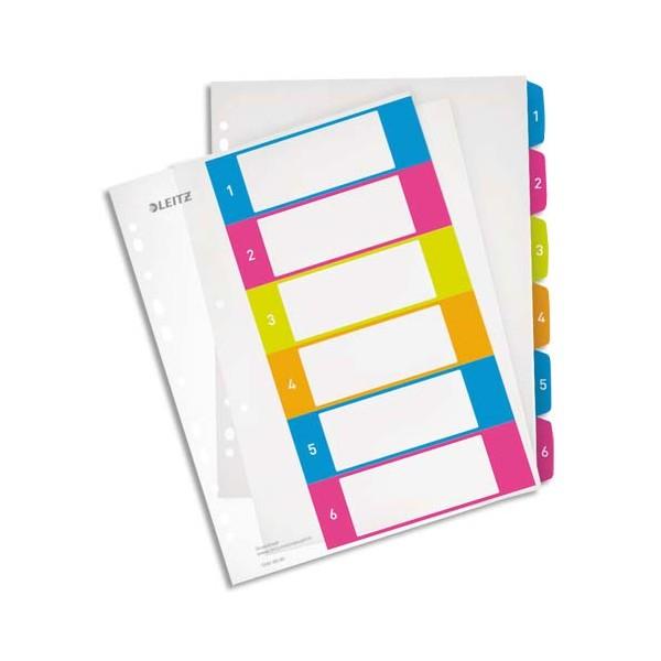 LEITZ Intercalaires numérique imprimables WOW 6 touches, format A4+, en polypropylène tr
