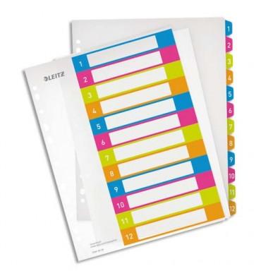 LEITZ Intercalaires numérique imprimables WOW 12 touches, format A4+, en polypropylène translucide assortis