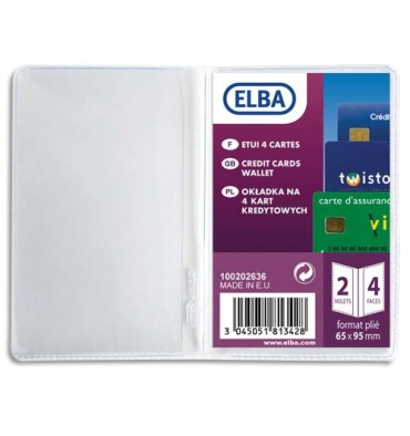 ELBA Etui pour 4 cartes de crédit, 6,5 x 19,5 cm, PVC 30/100eme