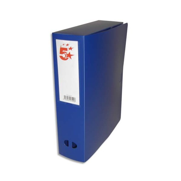 5 ETOILES Boîte de classement dos de 8 cm, en polypropylène 7/10e, coloris bleu
