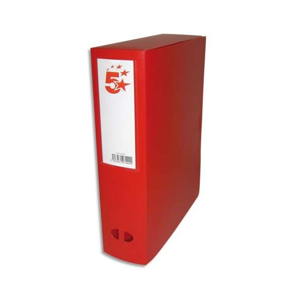 5 ETOILES Boîte de classement dos de 8 cm, en polypropylène 7/10e, coloris rouge