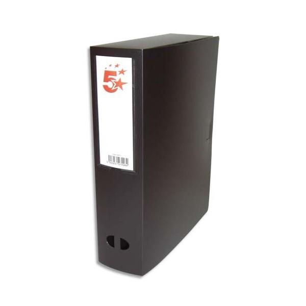 5 ETOILES Boîte de classement dos de 8 cm, en polypropylène 7/10e, coloris noir (photo)