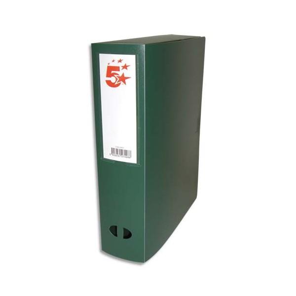 5 ETOILES Boîte de classement dos de 8 cm, en polypropylène 7/10e, coloris vert (photo)